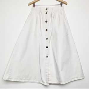 Vintage Off White Denim Button Front Maxi Skirt